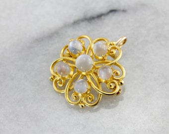 Antique Flower Pin or Pendant with Original Moonstones, Antique Moonstone Pendant YC2NDY-P