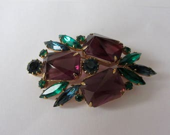 Big Hollywood Glam Brooch Pin Open Back Prong Set Paste Rhinestone  Emerals Amethyst Retro