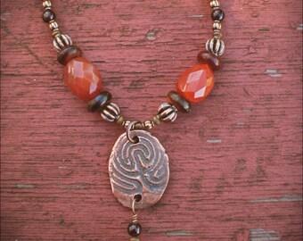 Copper Labyrinth Amulet Necklace