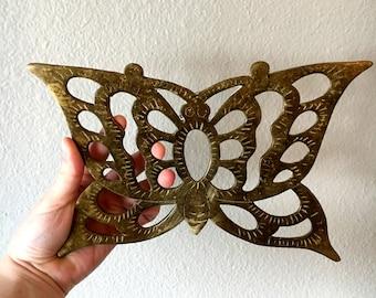 Vintage Brass Butterfly Trivet / Solid Brass Pot Holder / Butterfly Wall Hanging