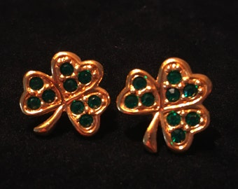 Vintage Avon Green Rhinestone Gold Shamrock St. Patrick's Day Earrings