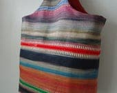 Colourful Striped Embroidered Linen Handbag