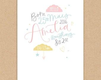 New Baby Personalised Nursery Artwork Handdrawn