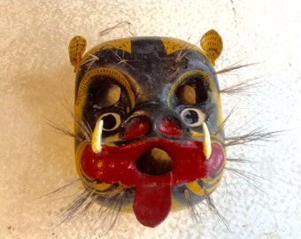 Vintage Mexican Jaguar Mask Red Long Tongue Boars Hair And Teeth