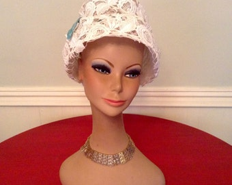 1960s Vintage Hat Cream Lace By Elsa Schiaparelli Paris MOD