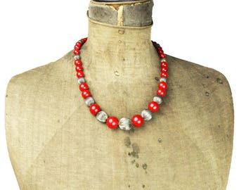 Chunky Red Bead Necklace - Chunky Red and Silver Bead Necklace - Red Beaded Necklace - Red Glass Bead Necklace