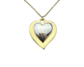 Gold and Silver Heart Necklace, Gold Chain Necklace, Gold Heart Pendant Necklace, Long Gold Necklace, Gold and Silver Heart Pendant