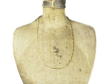 Long Gold Chain Necklace, Long Gold Necklace, Gold Tube Chain Necklace, Link and Bar Chain Necklace