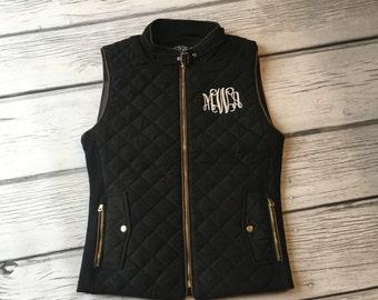 SALE, Monogram Vest, Monogram Puffy Vest,Monogram Vest, Quilted Vest, Monogrammed Clothing, Black Vest, Black Puffy Vest, Black Quilted Vest
