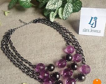 Purple Multi Strand Necklace, purple necklace, 18 inch necklace, reclaimed