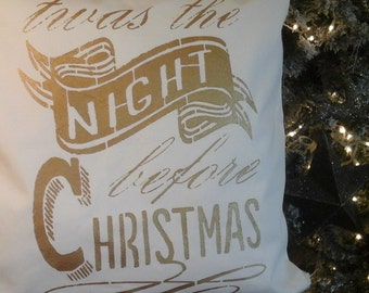White Christmas|White and Gold Pillow|Twas The Night before Christmas