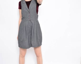 Vintage 90's Pinstriped Jumpsuit Overalls / Grey Pintriped Rompers  / Grey Shorts Overalls - Size Medium