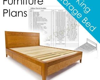 Plans for King Size Storage Bed - Platform Bed No. 2 Measured Drawing and Cut List