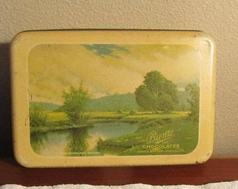 Vintage storage box; button box or wooden spool box; Tin Bunte Chocolates Box with painted scene; Chicago, IL souvenir;