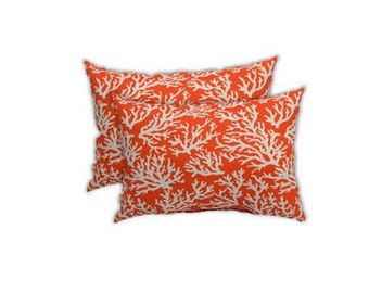 Set of 2 - Indoor / Outdoor - Lumbar / Rectangle Decorative Throw Pillows - Coral and White Reef -- Choose Size