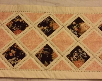 table runner, table topper, Asian, quilted, white, peach, black, decorate, dining