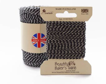 Monochrome Baker's Twine 10m - Black, Grey and White Butcher's Twine by Everlasto