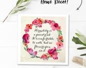 Van Gogh print, inspirational wall decor square printable quotes, digital download quote, normality is a paved road, watercolor flowers grow
