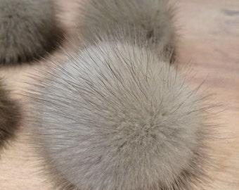 Recycled Fur Pom Pom - 2-Inch Silver Mink Fur Pom Pom - Detachable