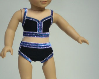Dance Outfit, Fits American Girl Doll, 2 Piece Swimsuit, Summer Clothes, 18 inch Doll Clothes, Doll Swimsuit
