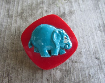 Adorable Red and Blue Elephant Brooch - Made in Austria