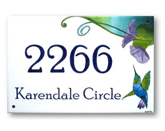 Hummingbird Address Plaque, Address Numbers, House Numbers Plaque, Bird House Numbers, Ceramic Sign