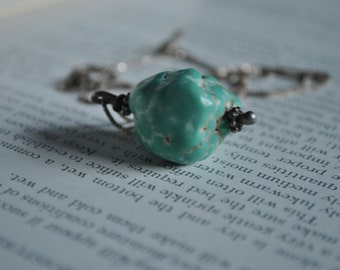 Vintage Natural Turquoise Pendant - 1960s Large Sterling Turquoise Nugget Necklace