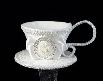 White on Ivory with Rose Cameo Wedding Tea Cup Fascinator Hat, Alice in Wonderland Mad Hatter Tea Party, Derby Hat