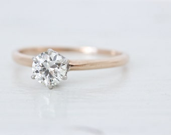 SALE Art Deco Engagement Ring | 14k Rose Gold Engagement Ring | 1930s Filigree Ring | Antique Diamond Solitaire Ring | Crown Ring | Size 6.5