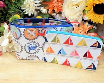 Zipper pouch, Makeup bag, Cosmetic bag, Travel pouch, Gift set, Nautical, Toiletry bag