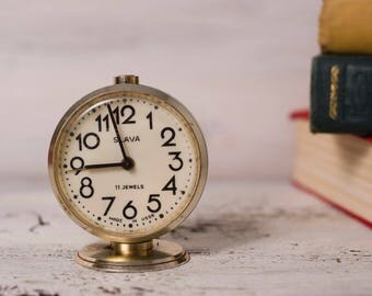 Vintage alarm|clock mechanical retro clock office|decor rustic|decor  Slava Russian clock blue vintage|decor gold wind up mini round
