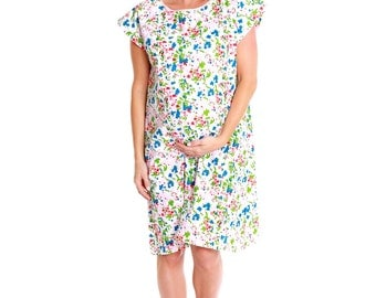 Labor & Delivery Maternity Hospital Gown Baby Be Mine Gownie Floral Emma Baby Shower Gift, Hospital Bag Must Have