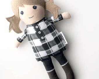 Light Brown Haired Fabric Doll - Gingham tunic | Baby Doll | Cloth Doll Rag Doll