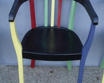 40s Bauhaus Chair Gropius Style, Deco black & colors, German Antiques