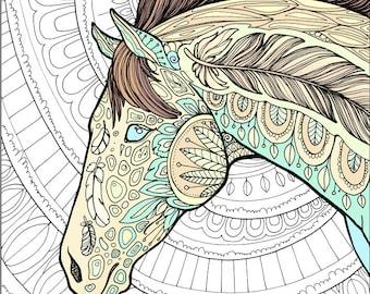 Adult Coloring Page Horse Doodle Printable Colouring Zen Doodle