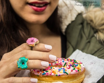 Donut ring, Realistic colorful miniature doughnut ring with sprinkles and frosting,Handmade of polymer clay ,food jewelry,adjustable ring