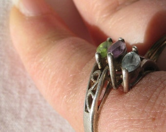 Attractive Sterling Silver Ring with 3 Pastel Marquise Cut Stones, Unknown Hallmark, Size 7