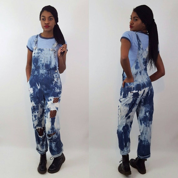 Remade 90's Vintage Shredded Tie Dye Overalls - Small Hand Bleached Jean Overall Pants - Fitted Tiedye Distressed Denim Dungarees Jumper