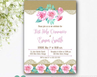 Girl Communion Invitation - Floral Communion Invitation - Girl First Communion Invitation - Watercolour Floral Communion Invites