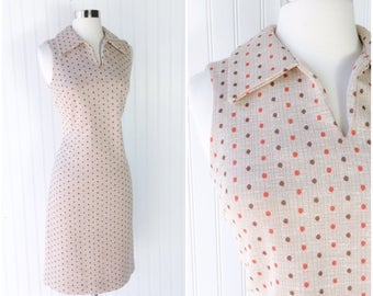 vtg 60s mod pinup sheath dress / beige knit / brown & rust polka dots / collar and v-neck / a-line skirt