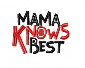 Mama Knows Best! Embroidered Shirt, Bodysuit, Burp Cloth, Dish Towel and more!