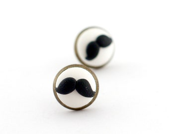 Moustache stud earrings, movember jewelry, funny jewelry, party earrings women, stud earrings, black and white, post earrings, gift for her