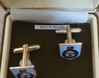 Vintage Royal Airforce enamel cufflinks in the original box