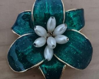 Vintage green enamel and pearl flower brooch
