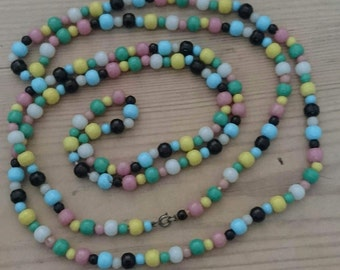 Long vintage glass bead necklace