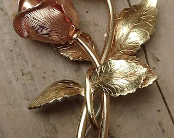 Vintage Krementz rose brooch