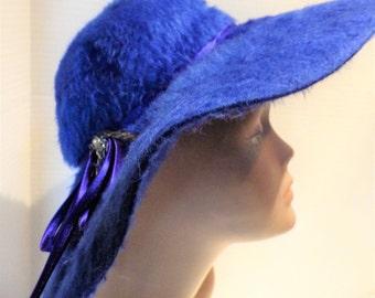 1960s RAWAK Model Royal Blue Wool Fur Hat Wide Floppy Brim Merri Soie Beaded Ribbon 22