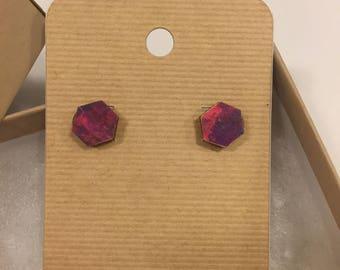 Watercolor hexagon wooden earrings