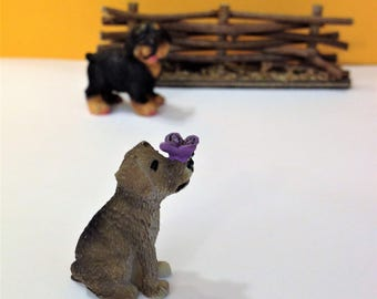 Dog Figurine with Butterfly Fairy Garden Miniatures