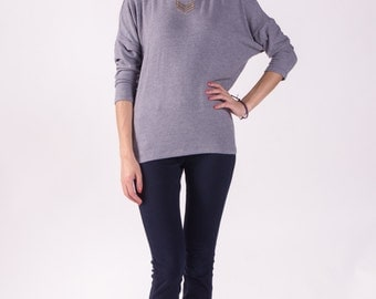 Sweater Top / Dolman Top / Cashmere Sweater Feel / Long Sleeve Top / Women Sweaters / Gray Top / Jersey Sweater / Eco-Friendly Top